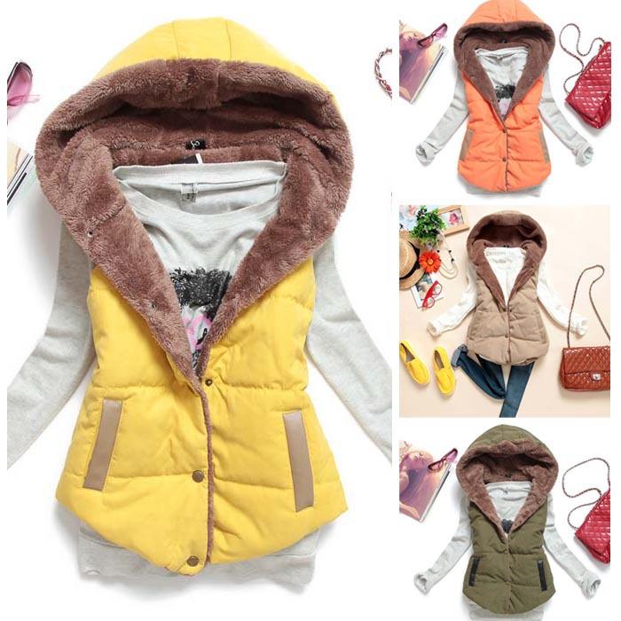 Горячая распродажа осень зима женщины хлопок пальто сгущает теплые куртки без рукавов с капюшоном пальто лайнер с бархатной пиджаки топы MJ1-1