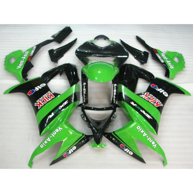 New Cheap Motorcycle factory body fairing for 2008 2009 2010 Kawasaki ZX10R green black Fairings set Ninja ZX-10R 08 09 10(China (Mainland))