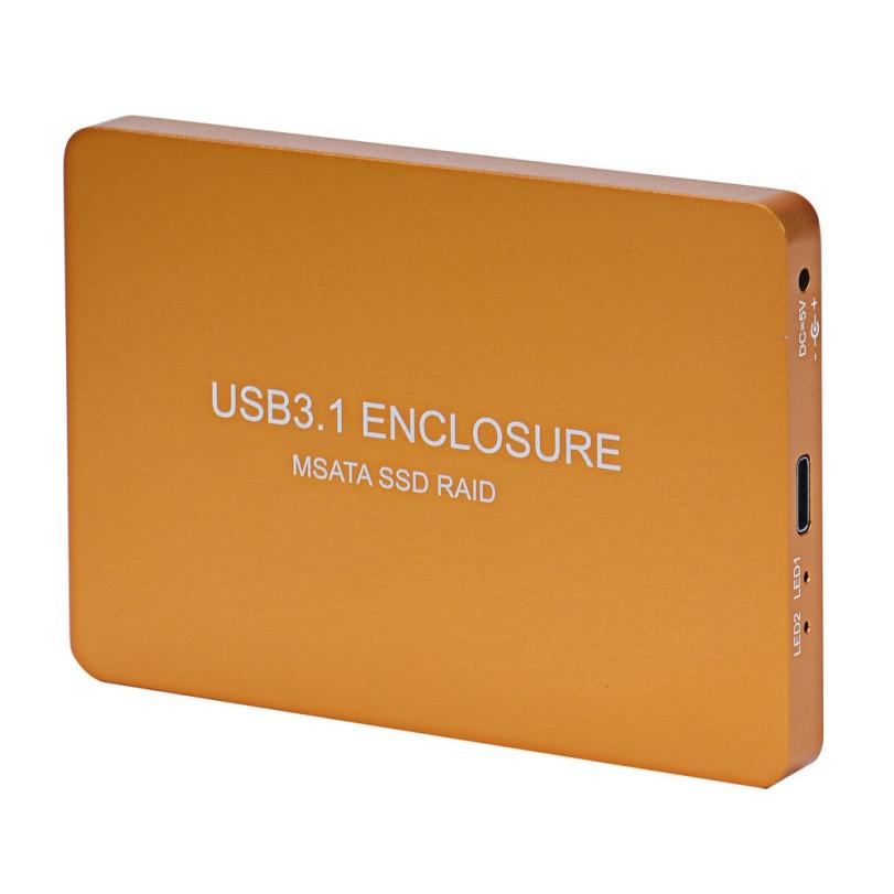 Malloom Gold 10cmX7cmX0.9cm USB 3.1 To 2 Dual mSATA Mini PCI-E SATA SSD RAID Adapter Card Enclosure Case With Cable 1 pc #0112(China (Mainland))