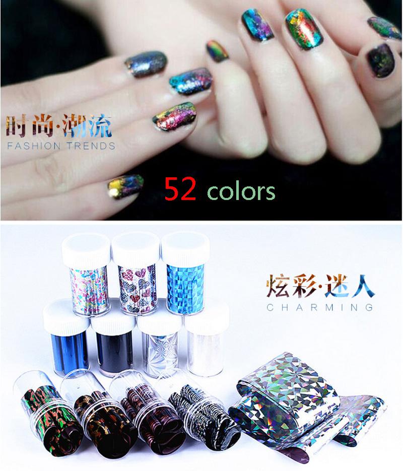 Wholesale 52 colors 52 pcs/lot Galaxy Nail Art Transfer Wrap Foil Sticker Glitter Tip Decal Decoration DIY Laser Night Sky Stars<br><br>Aliexpress