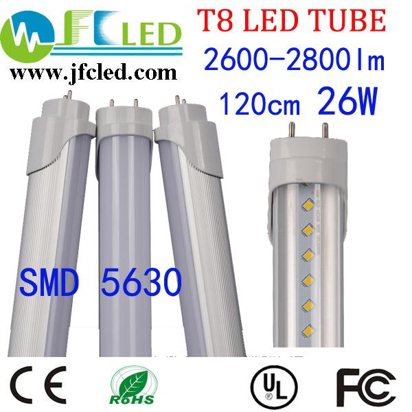 4pcs led tube t8 1200mm AC85V-265V 26W 120cm 1.2m led lamp 4ft 2800lm led fluorescent tube SMD5630 high brightness Free shipping(China (Mainland))