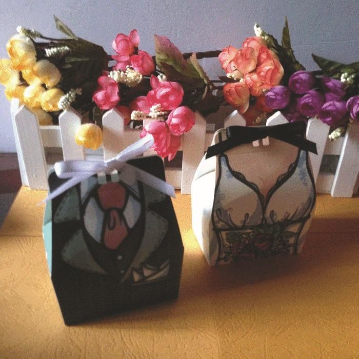 new 100pcs/LOT DRESS Groom bridal Wedding Favours Boxes Candy box Gift Ribbon(China (Mainland))