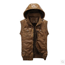 2015 Men Casual Spring Hooded Plus Size Pu Leather Cotton Vest 3Xl Slim Sports Outdoor Thick Sleeeveless Jacket Waistcoat S1247(China (Mainland))
