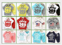 New arrived children hooded T-shirt +pants boys girls clothes sets 369 flag,badge printed sport shirt 100% cotton kids wear(China (Mainland))
