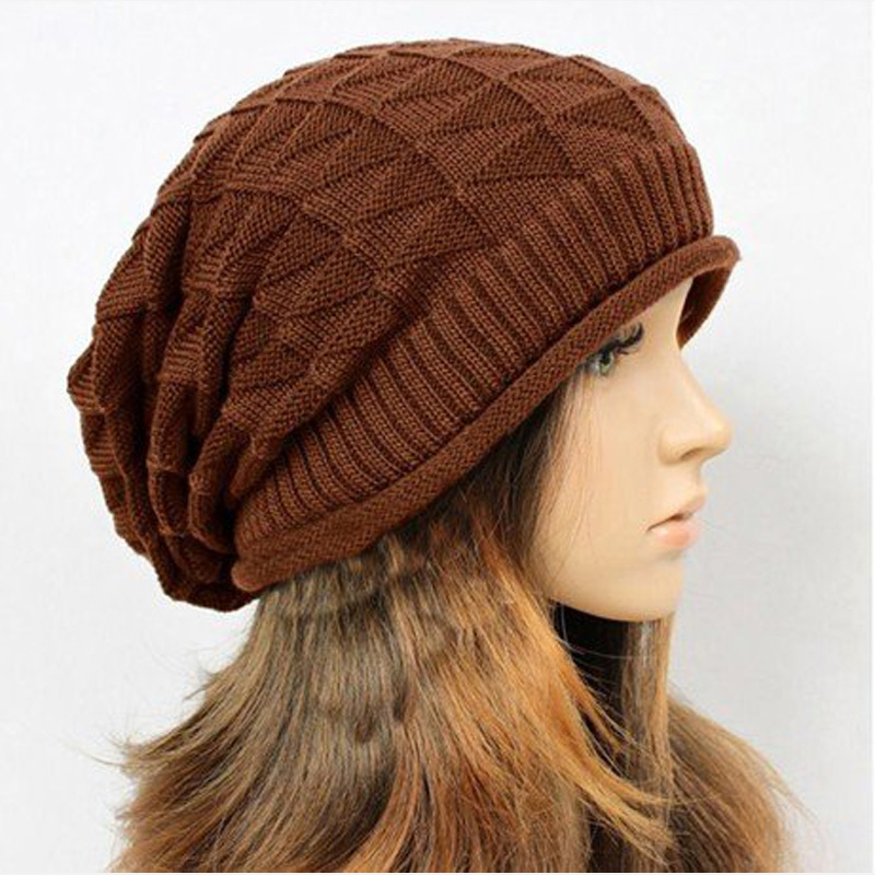 1pcs retail ladies's fashion check ear protect knitted hat Beanies Cap Autumn Spring Winter(China (Mainland))