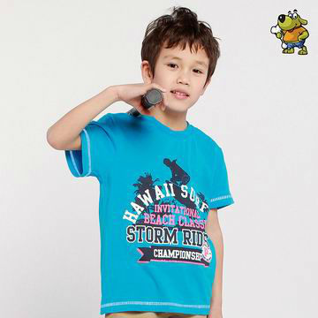 2016 Freeshipping summer Children boy Kids baby blue White short sleeve casual sports 100% cotton shirt T-shirt top PEXZ01P61