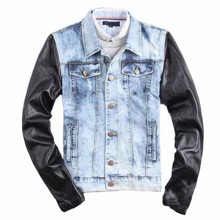 online kaufen gro handel jeansjacke leder rmel aus china. Black Bedroom Furniture Sets. Home Design Ideas