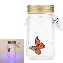 Romantic Glass LED Jar Butterfly Lamp Bottle Valentine Gift Present home Decoration atmosphere light(China (Mainland))