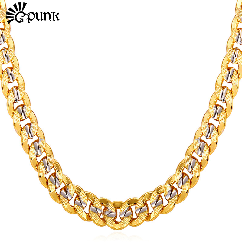 Men Curb Cuban Link Chain 18K Real Gold & Platinum Plated 9MM HipHop Style High Quality Chain Necklace For Men Male Gift N1949G(China (Mainland))