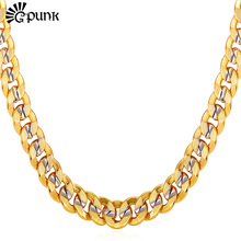 Buy Men Curb Cuban Link Chain Gold color 9MM HipHop Style High Chain Necklace Men Male Gift N1949G for $7.00 in AliExpress store