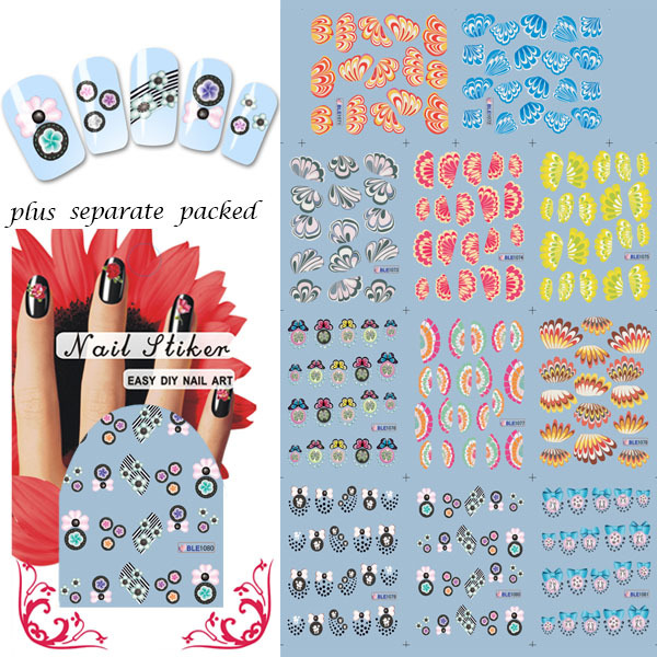 2014 NEW 50sheet/lot Flower Series Nail Tattoo Nail Fashion Film Nail Patch Art Product nail sticker water individually packaged<br><br>Aliexpress