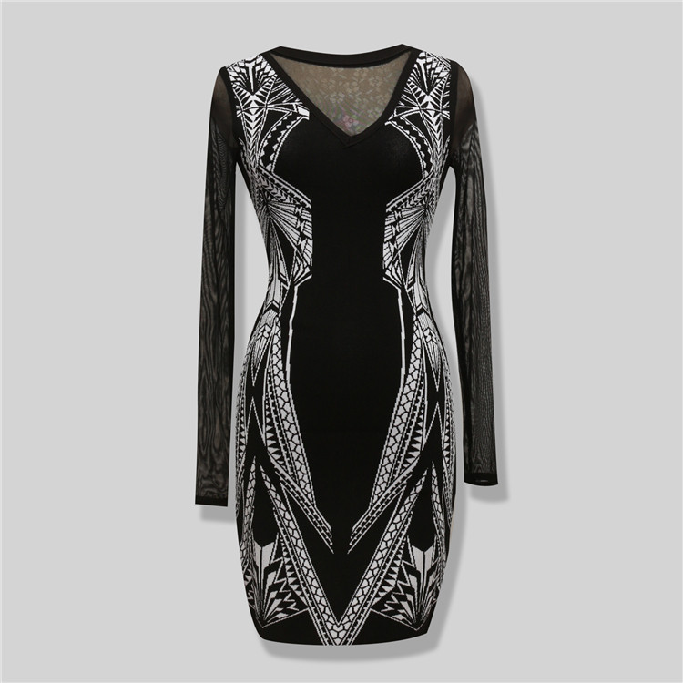 Top Quality Rayon Material Women's Long Sleeve Knee Length Bodycon Dress HL Bandage Dress Evening Party Dress