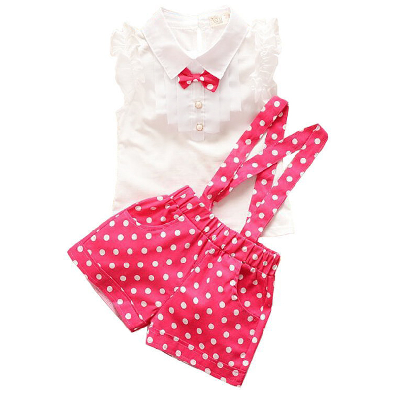 Baby girls clothing sets Summer style lovely collection short sleeve T-shirt + dot pants children clothing Casual clothes 2015(China (Mainland))