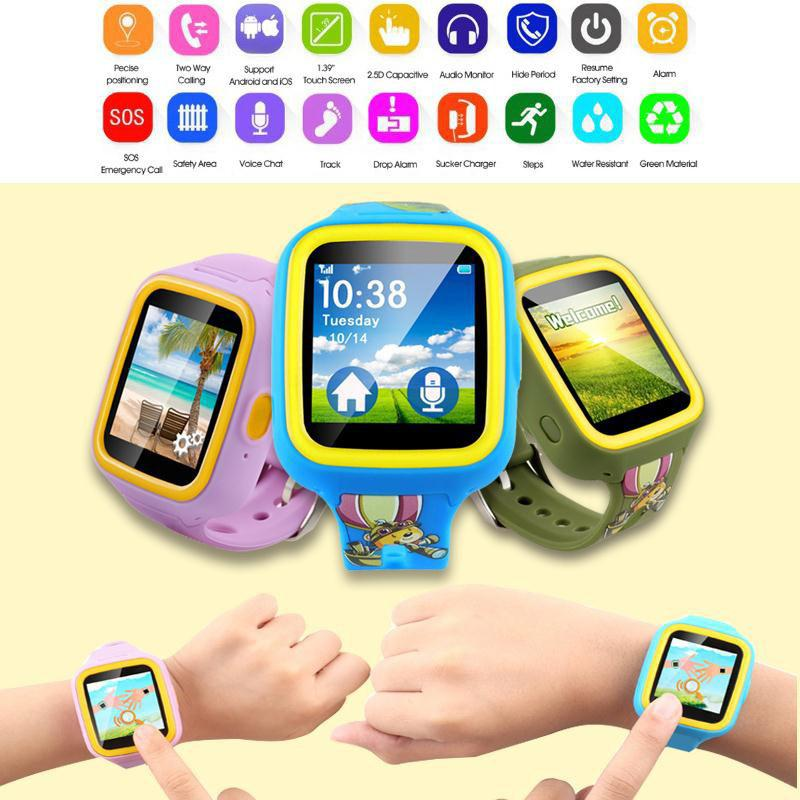 3 Colors Kids GPS Tracker Smart Wrist Watch Phone GSM SOS Call Anti-lost Smartwatch For IOS iPhone Android Blue/Green/Pink Gift(China (Mainland))