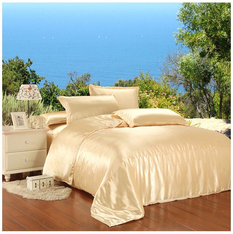 silk bedding set beige color beding set silk bed linen silk bedspreads bed sheet silk patchwork quilt cover wedding bed set 5040(China (Mainland))