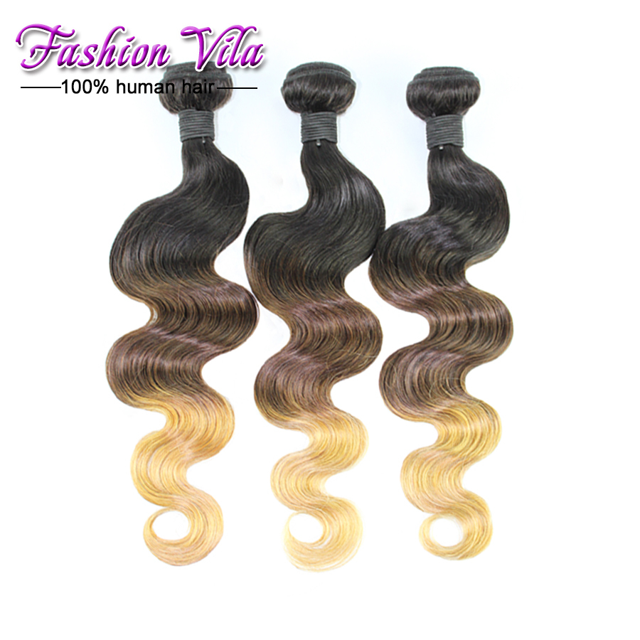 6A ombre hair extensions brazilian body wave three tone 1b/4/27 3pcs/lot human hair extension brazilian virgin hair tangle free<br><br>Aliexpress