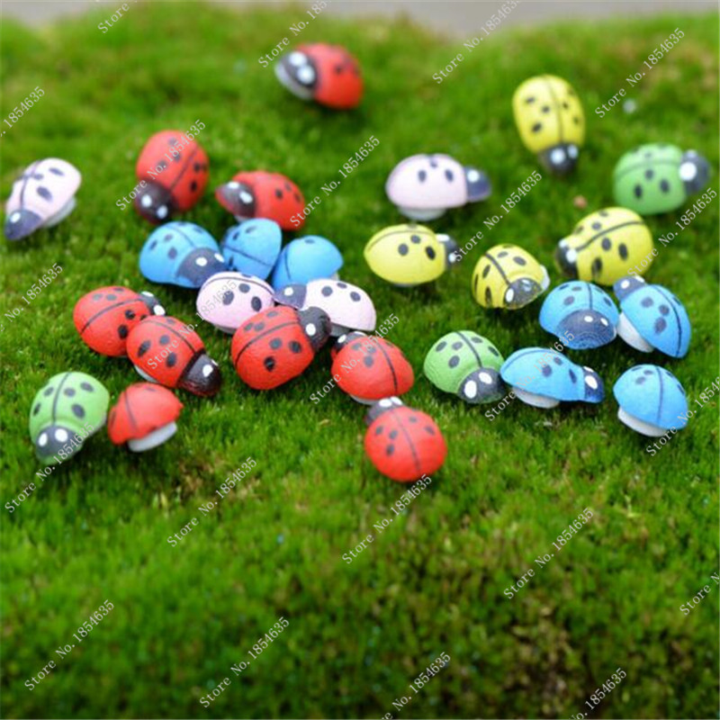 Free Shipping Mixed color Wooden Ladybird Ladybug Sticker Children Kid Painted Adhesive Back Home Party Holiday Decoration 20PCS(China (Mainland))