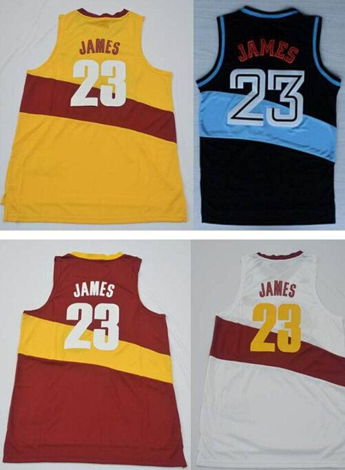 #23 Lebron James Jersey black red white yellow Cheap mens Throwback basketball Embroidery Shirts DHL Authentic Aimee Smith Store(China (Mainland))
