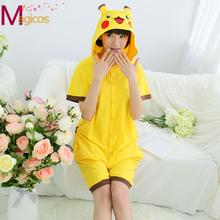 Adults Cotton Onesies Pajamas Cartoon Animal Pikachu Pijamas Cosplay Costume Short Sleeve Pyjamas Sleepwear for Men Women