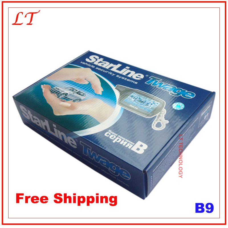 Free Shipping Starline B9 Car Alarm System,Russisan Version Two Way Car Alarm Starline With Remote Engine Starter(China (Mainland))