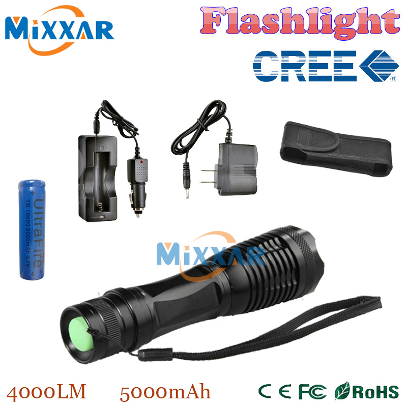 zk14 LED flashlight Focus lamp LED torch e17 CREE XM-L T6 4000 Lumens Zoomable lights + AC/Car Charger + 18650 5000mAh battery(China (Mainland))