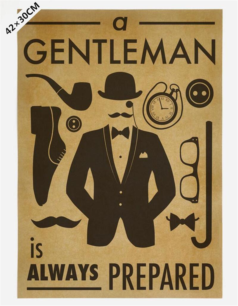 The image of a gentleman dressed necessary kraft paper poster retro Cafe restaurant wall decals nostalgia 42x30cm(China (Mainland))