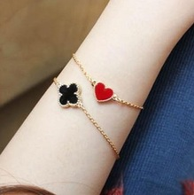 Fashion jewelry wholesale Korean pop song sweet and lovely small heart love clover Bracelet E028(China (Mainland))