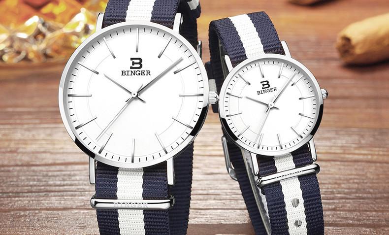 Швейцария БИНГЕР женщины часы люксовый бренд ультратонкий ограниченным тиражом Водонепроницаемый любителей кварцевые Наручные Часы B-3050W-14