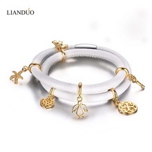 Women's Bracelets White Genuine Leather Heart Starfish Flowers Key Charm Bracelet with Steel Magnetic Clasp Pulseiras(China (Mainland))