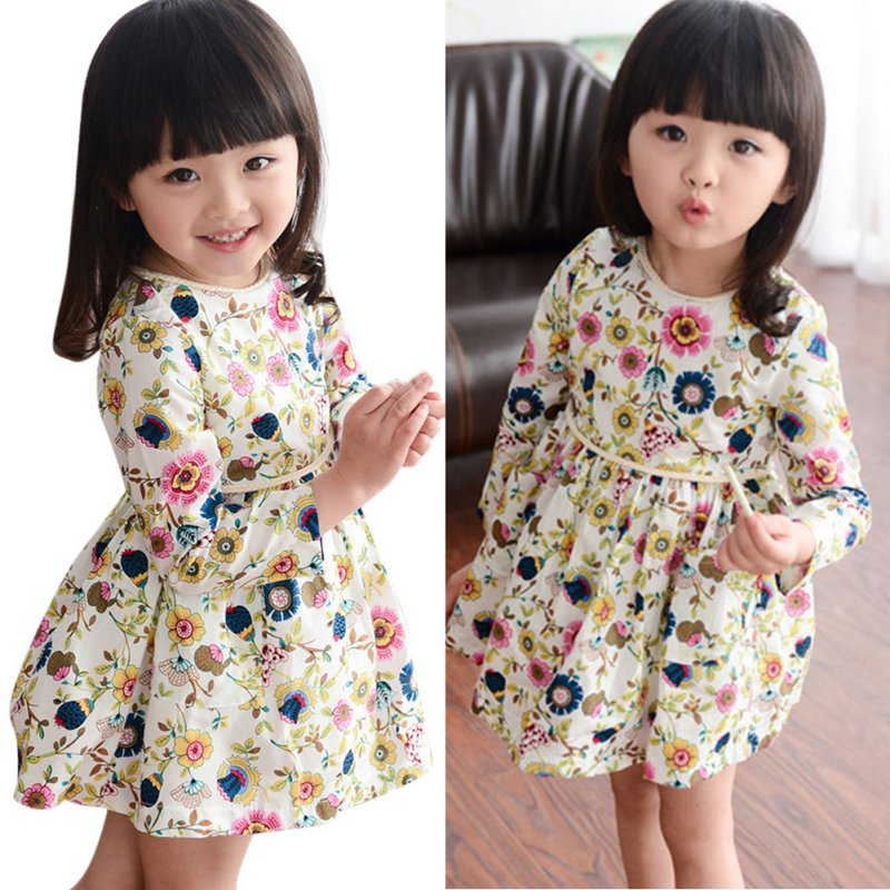 2-6Y Sweet Kids Girls Floral Pattern Dress Round Neck Long Sleeve Dresses(China (Mainland))