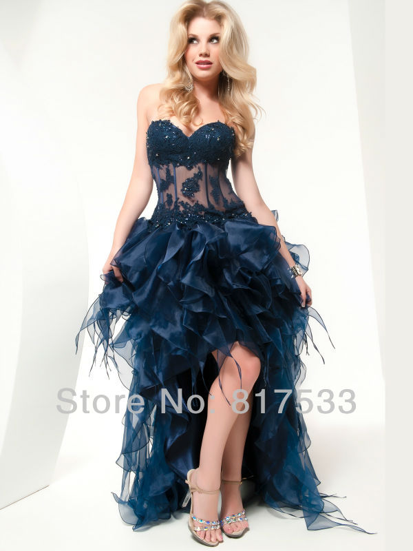 Ostrich Feathers Prom Dress High Low Prom Dresses With Sequins Pageant Gowns Sweetheart Applique Short Front And Long Back