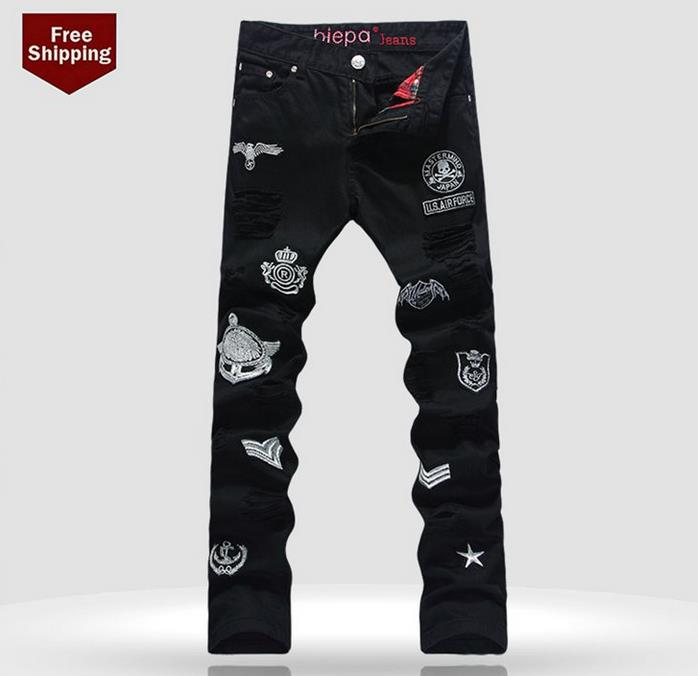 Фотография Autumn black singer dance embroidery hole mens jeans denim trousers clothing personalized luxury brand casual elastic pants