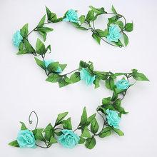 240 см искусственные растения Роза Виноградная лоза зеленый лист Плющ лоза для дома свадьбы Decora diy сад настенные Искусственные цветы 1 шт(Китай)