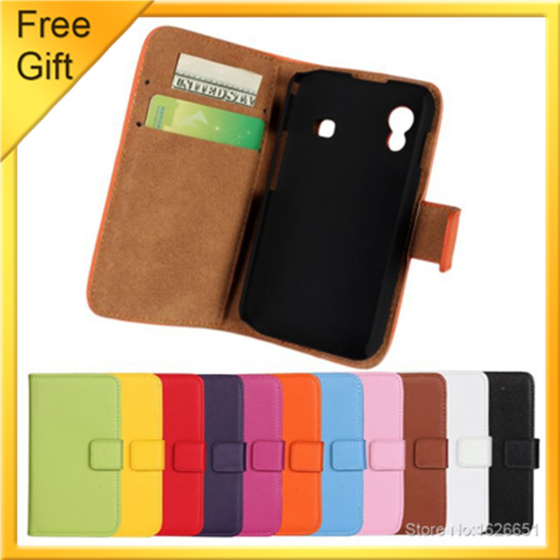 for Samsung S5830 Phone Cases Luxury Flip Genuine Leather Wallet Case Cover for Samsung Galaxy Ace GT-S5830i Shell Bags +Gift(China (Mainland))