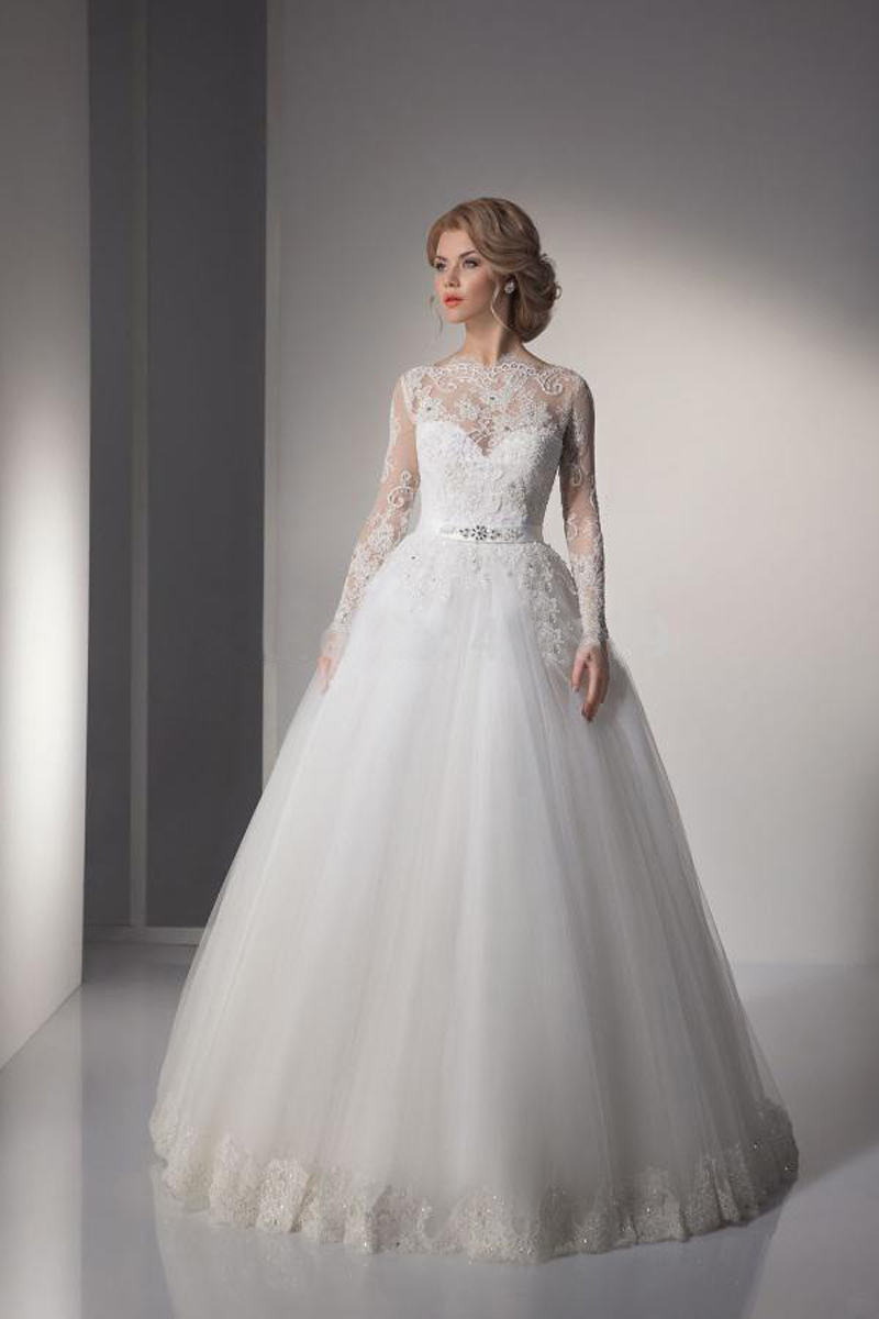 Sexy lace ball gown wedding dresses 2015 long sleeve for Cheap vintage style wedding dresses