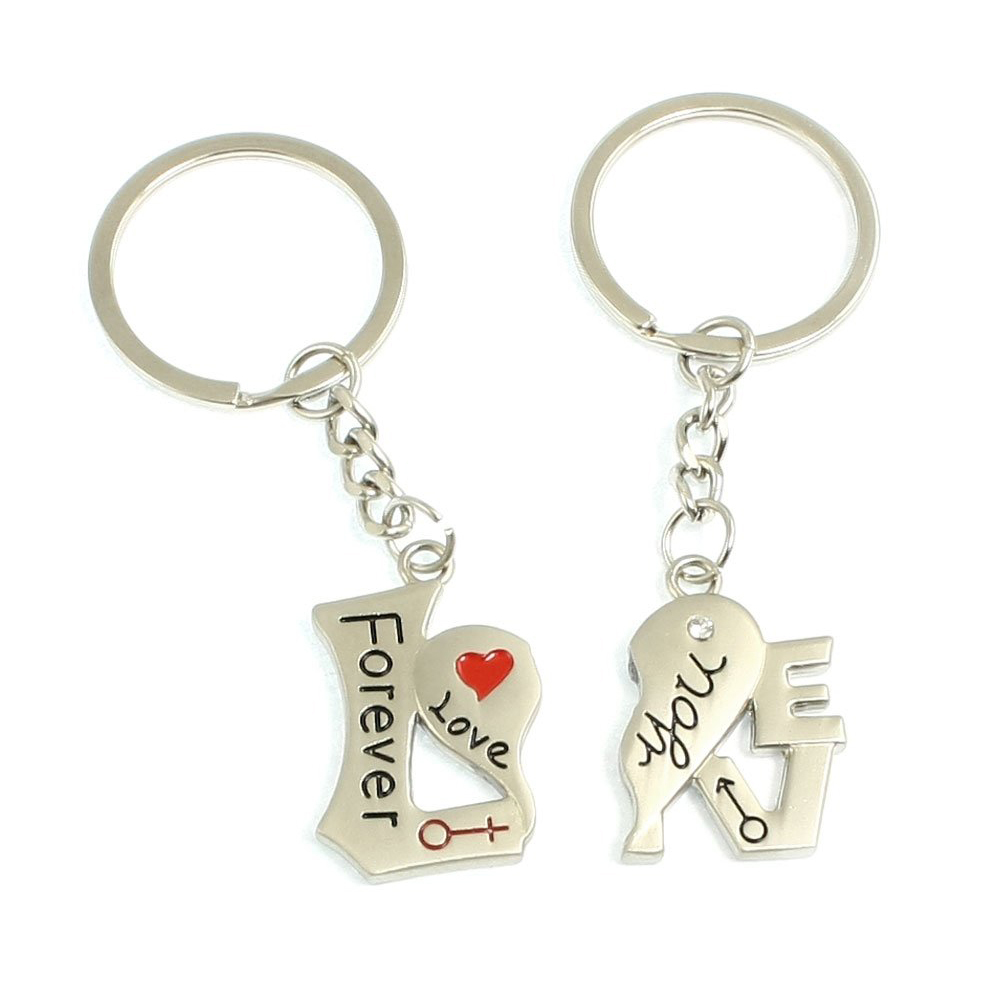 FJS! LOVE YOU FOREVER Heart Shape Key Chain Key Ring for Couples 2 Pcs<br><br>Aliexpress