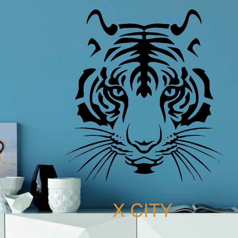 Tiger head wild animal wall sticker vinyl art decal for Auto collant mural