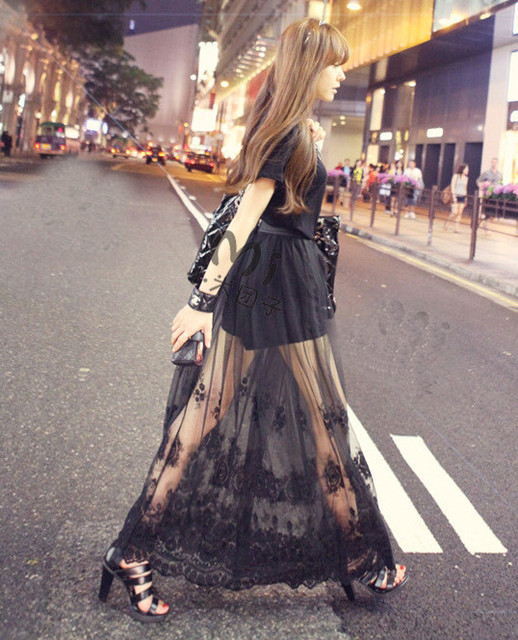 Sexy perspectivity half-length lace full dress fairy bust high waist skirt summer