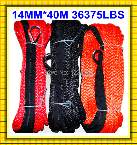 Free Shipping 14MM 40M 12 Strand UHMWPE Towing Rope Synthetic 4X4/ATV/UTV Braid Winch Line With Thimble(China (Mainland))