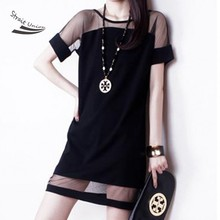 New Arrival EAST KNITTING Women's Sexy Mesh Lace Splicing Dresses Short Sleeve Chiffon Dress M/L/XL 35