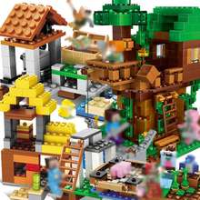 Minecrafted set tree house Building Blocks Compatible legoing Minecrafted city mini Steve Figures Dragon Bricks Children Toysr(China)