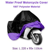 Size L 220 x 95x 110cm Motorcycle Covering Waterproof Scooter Cover UV resistant Heavy Racing Bike Outdoor Cover Purple D10