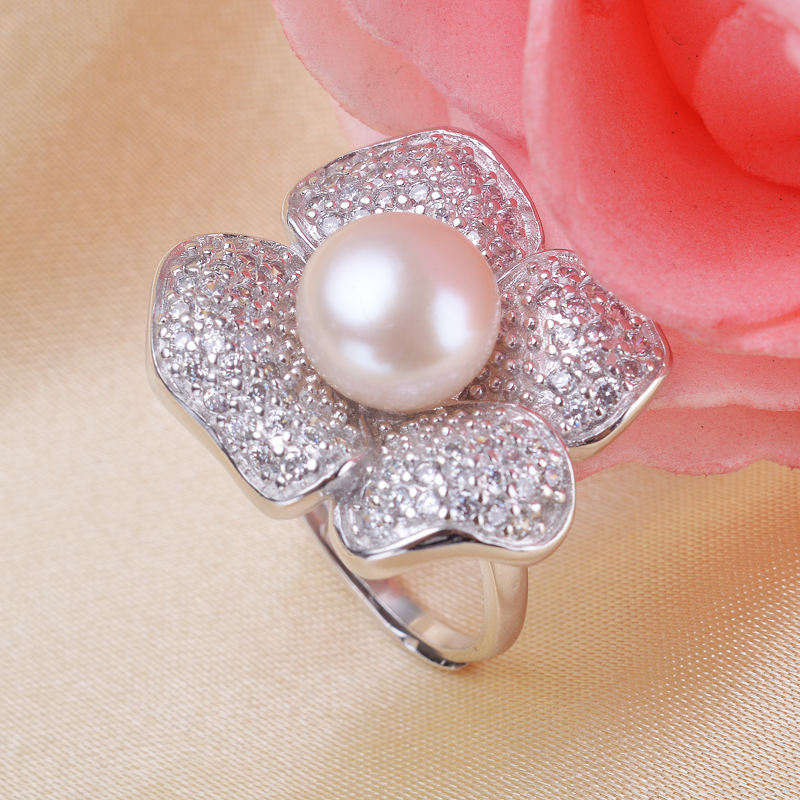 Zircon Flower Pearl Ring With AAA 10-11mm Freshwater Pearl Wedding Rings Fashion Jewelry  For Women <br><br>Aliexpress