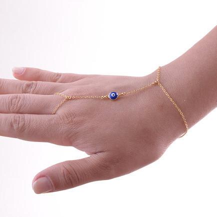 Promotion New Design Gold Blue Turkey Evil Eye Charm Bracelet Fashion Chain Jewelry For Women 3B206(China (Mainland))
