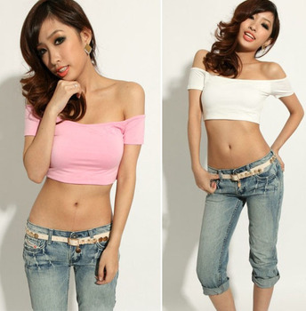 New Promotion Women T-Shirt Off Shoulder Summer Stretch Sexy Club Wrapped Crop Top Vest Tank Sexy T Shirt Free Shipping 0417
