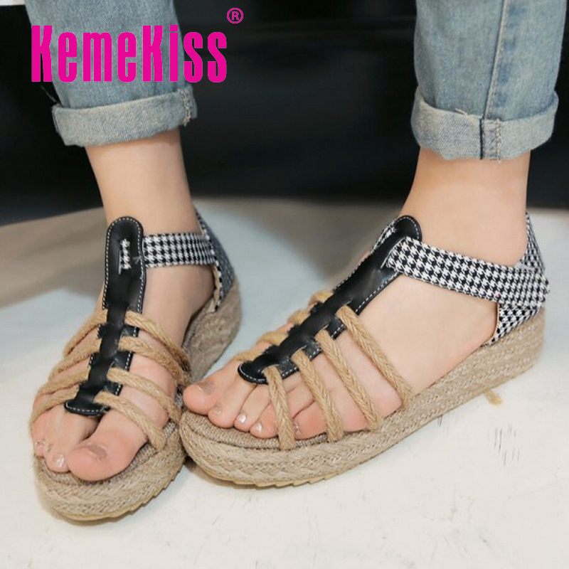 women bohemia girl quality flat sandals brand sexy fashion ladies heeled footwear heels shoes plus big size 30-43 P18859
