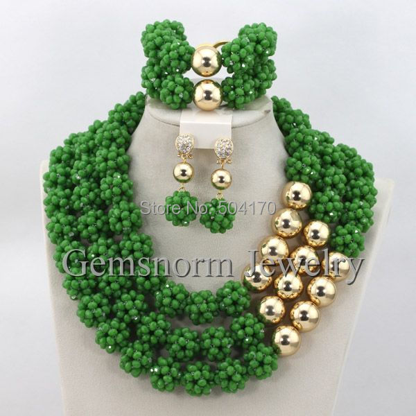 Luxury African Beads Jewelry Set for Wedding Perfect Nigerian Wedding Beads Brides Jewelry Set Hot Free Shipping GS502<br><br>Aliexpress