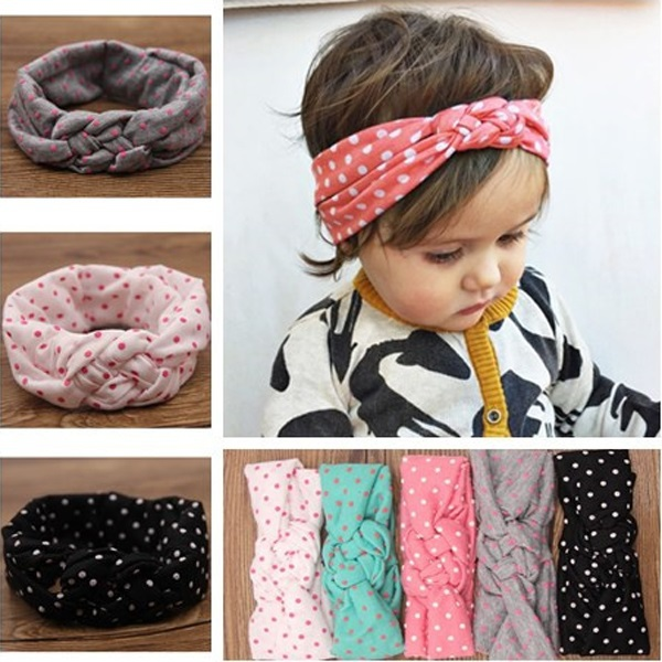 Baby dot knot headbands Infant twisted girls hair accessoires Children girls elastic headwrap Baby bow ribbon Retail HB444(China (Mainland))