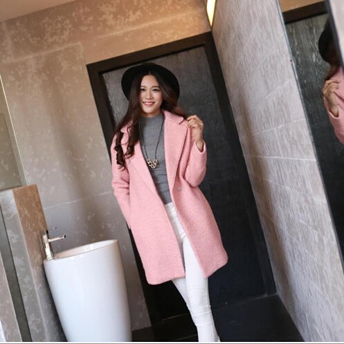 Spring 2015 new fashion simple elegant wool coat woolen Korean loose long-sleeved cashmere female lovely pink - China good network store