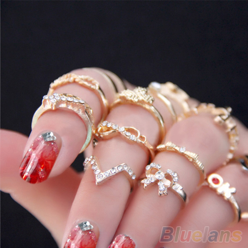 1 Set 7 pcs Women's Rhinestone Bowknot Knuckle Midi Mid Finger Tip Stacking Rings  01SJ